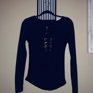 Free People Black Lace Up Long-Sleeve